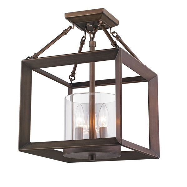 golden lighting smyth gunmetal bronze with clear glass steel converible semiflush light by golden lighting modern ceiling