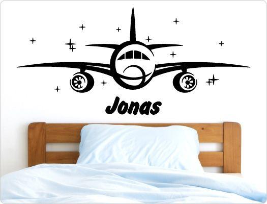 Wandtattoo Flugzeug mit Name (2)