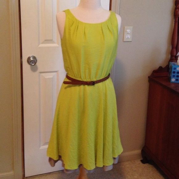Antonio Melani chartreuse dress Dry clean only, cute dress with great detail at hem and neckline belted at elastic waist. ANTONIO MELANI Dresses