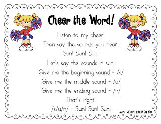 Songs & Chants We love singing these Segmenting Songs. I found two of these in the book Phonemic Awareness Activities for Early Reading Success and the bumblebee song is based on the well-known name song. For the cheer, I found some cute pompoms at my local supermarket!