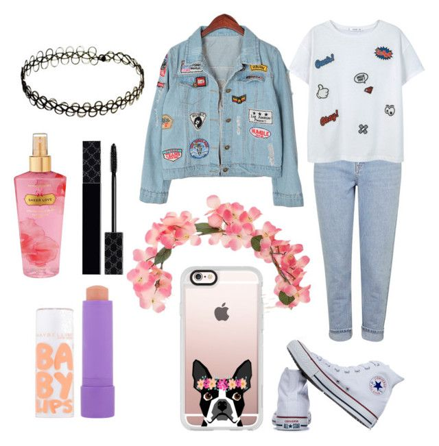 """""""Love this outfit """" by adine233 on Polyvore featuring Casetify, Topshop, Converse, MANGO, Chicnova Fashion, Miss Selfridge, Victoria's Secret, Maybelline and Gucci"""