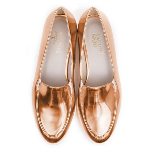 Beyond Skin Charlie vegan flat pump made from rose gold metallic synthetic faux…