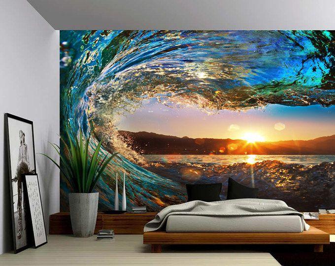 Sunset Sea Ocean Wave   Large Wall Mural, Self Adhesive Vinyl Wallpaper,  Peel Ideas