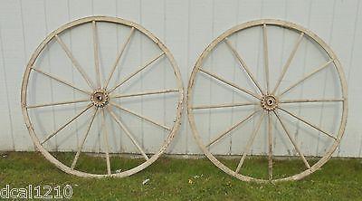Antique Original Wagon Wheels Hubs 55'' 12 Spokes Set of Two W GEARS FARM