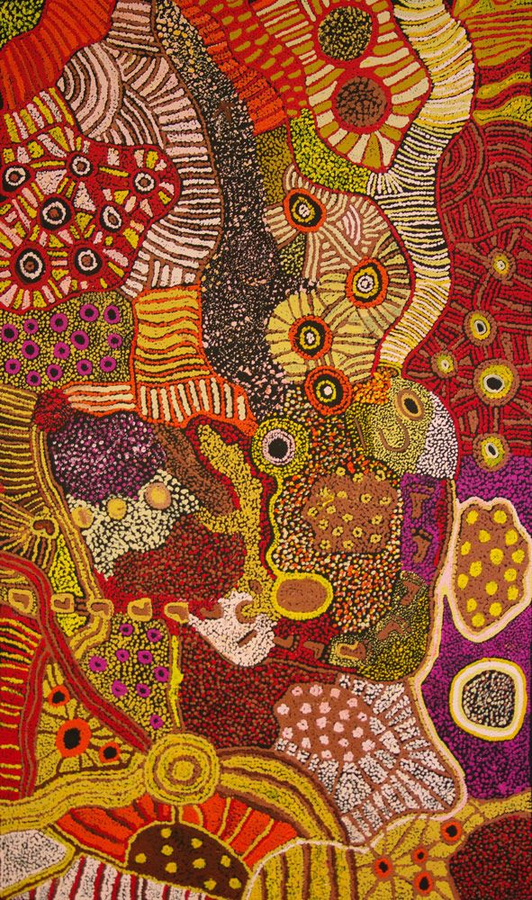 Australian Aboriginal Art Painting by Kay Baker Tunkin 'Minma Marlilu Tjukurrpa