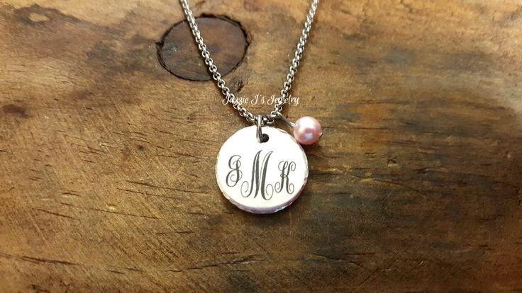 Engraved Monogram Necklace with Pearl Charm, Gift for Her, Initial Monogram Necklace, Birthday Gift, Personalized Gift for Her, Gift for Mom by JazzieJsJewelry on Etsy