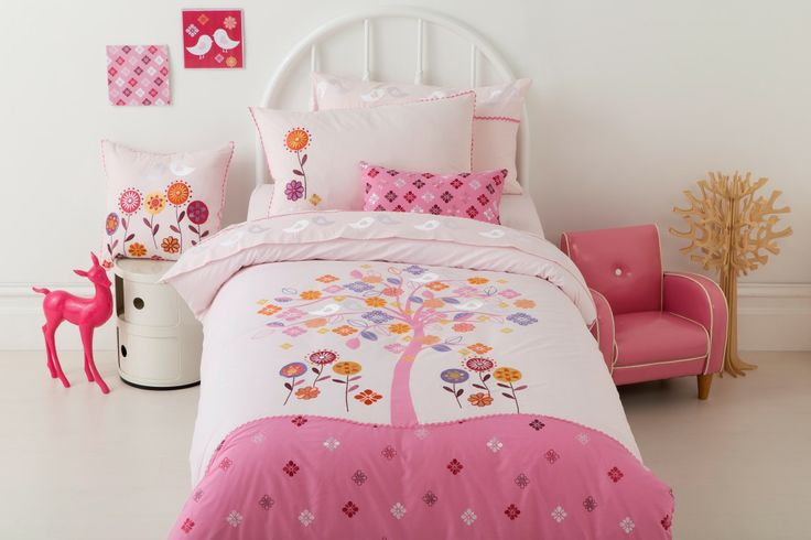 Enchanted Two tone pink quilt with print and embroidery detail and ric rac trim 225TC Polyester Cotton Available in:  Quilt Cover sets- SB, DB & QB Sheet Sets - SB & KSB 45cm x 45cm filled Cushion 30cm x 45cm filled cushion http://store.dreamtimeaustralia.com.au/product/enchanted