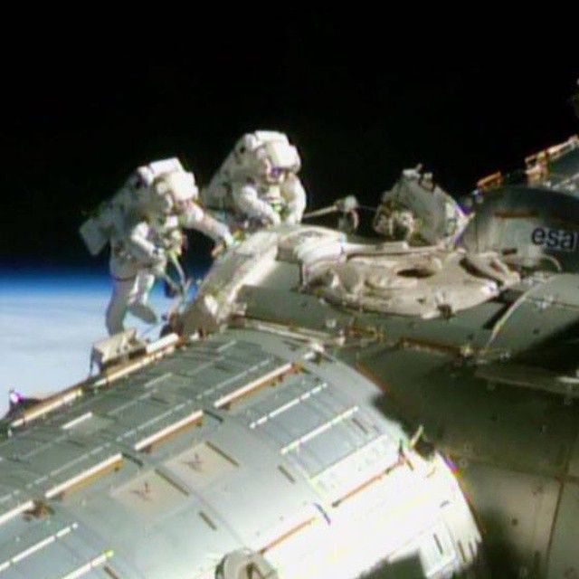 Astronauts Barry Wilmore (left) and Terry Virts are ...