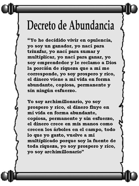 marisel@reflexiones.com: DECRETO DE ABUNDANCIA