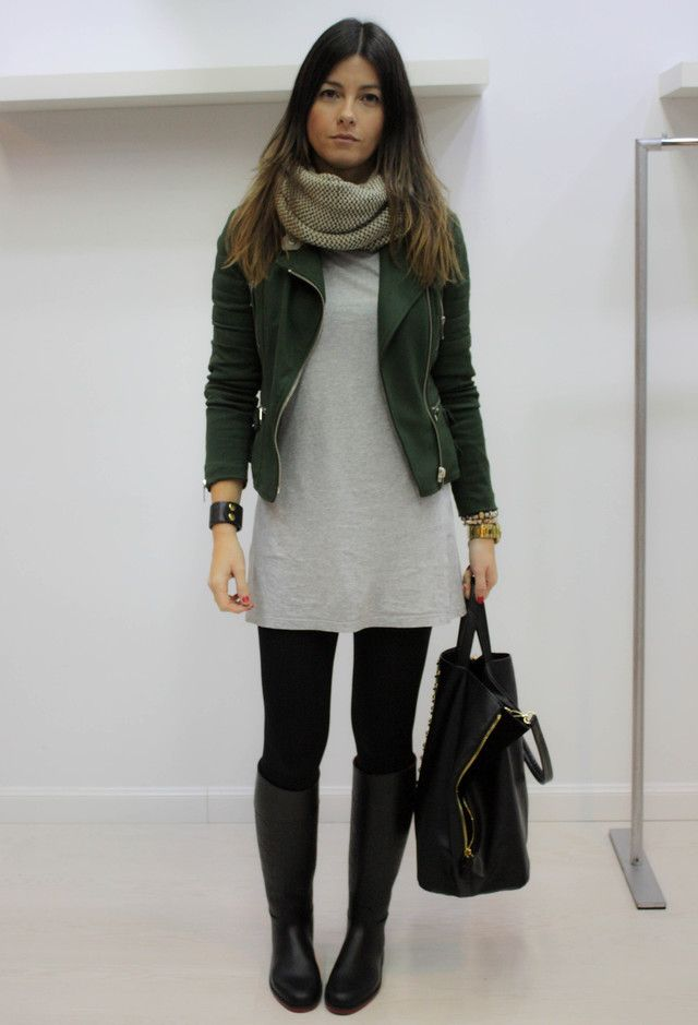 Scarf / Motor Jacket / Cotton Body con Dress / Tight / Black Knee Boots