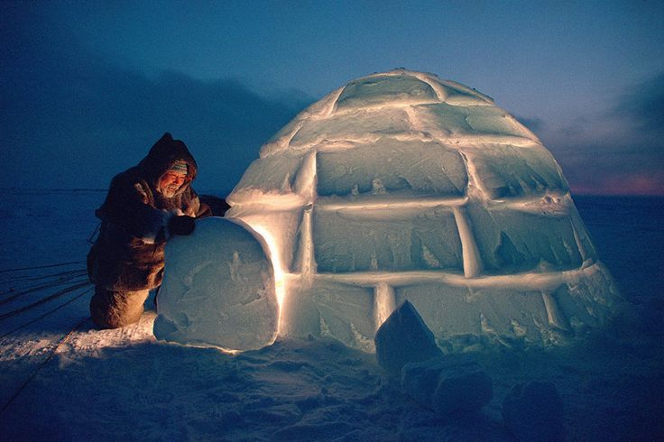 Igloo at dusk, Nunavut, Canada | Bryan & Cherry Alexander