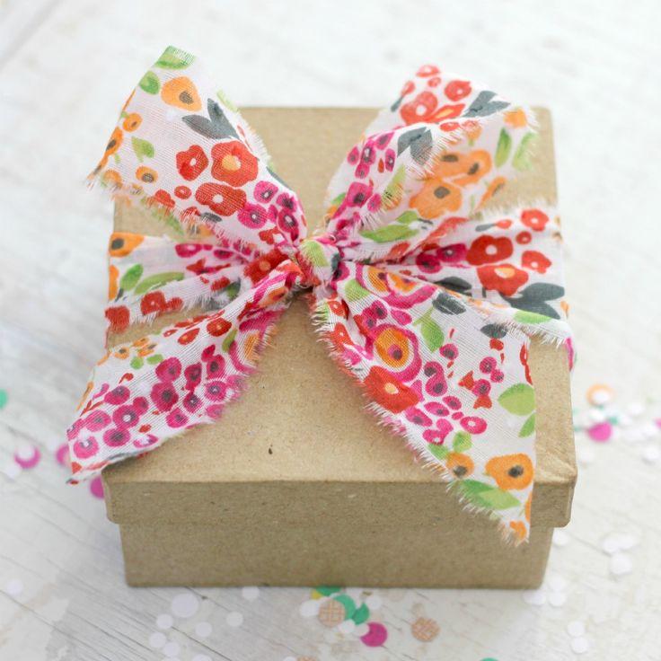 Pink Flowers Fabric Ribbon