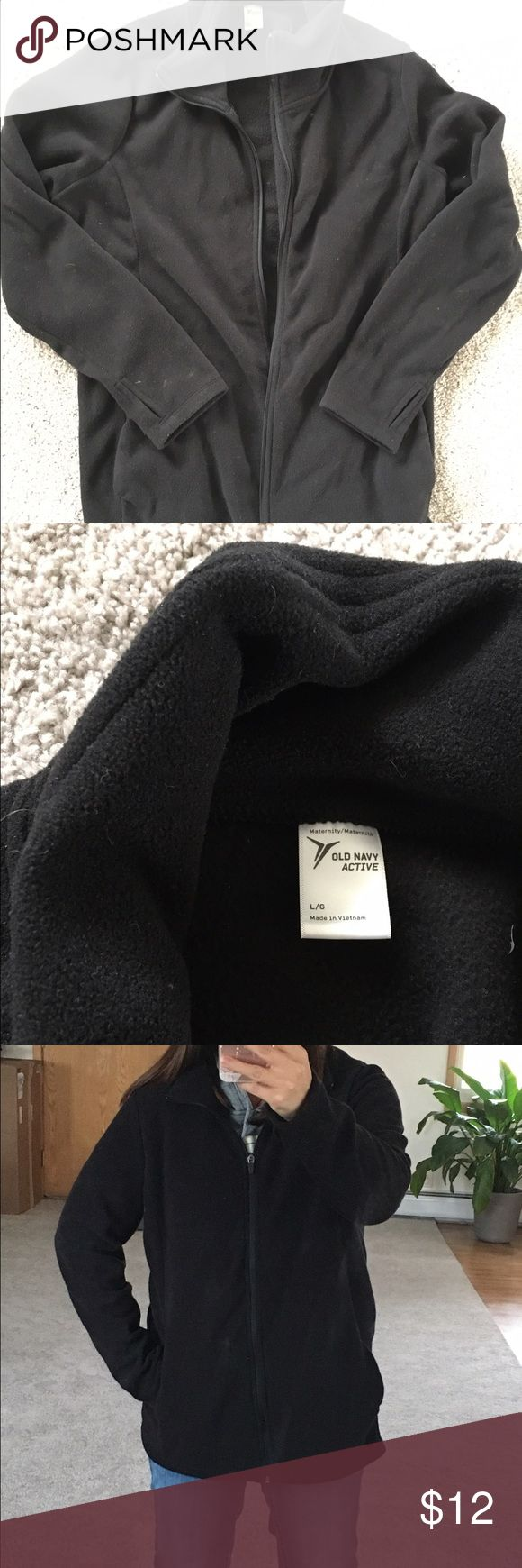 Old Navy Maternity fleece This is an Old Navy Active maternity zip up fleece in black.  Used this through my third trimester.  Side pockets and thumb holes in sleeves to be worn over hands- Very warm and cozy! Old Navy Jackets & Coats