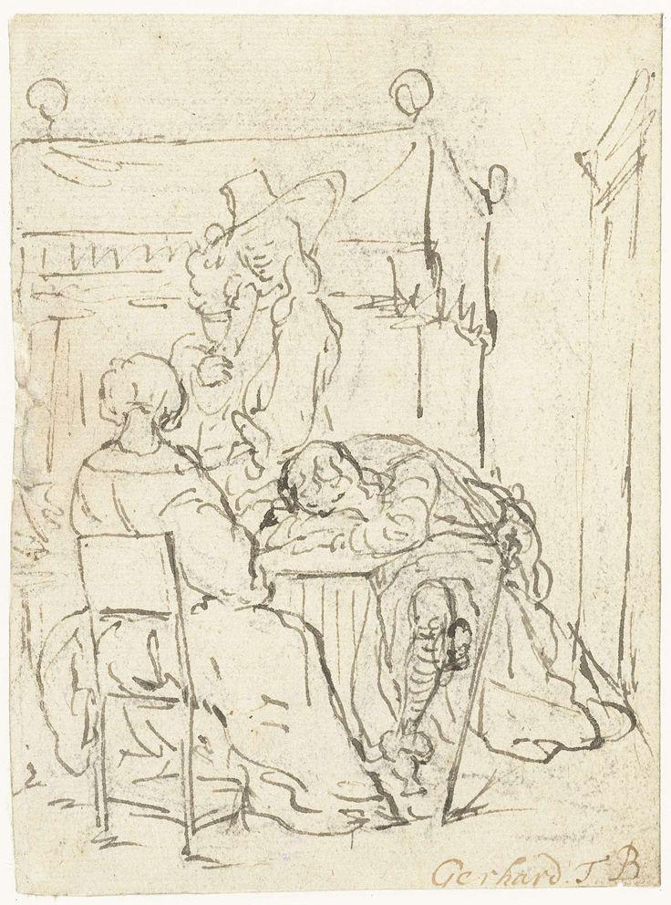 Gerard ter Borch (II)   Drinktafereel met een zittende dame, een slapende soldaat en een staande heer, Gerard ter Borch (II), 1655 - 1661   Een drinktafereel met een zittende dame, op de rug gezien, een slapende soldaat met het hoofd op de armen aan tafel gezeten en een staande heer tussen de tafel en de bedstee op de achtergrond.