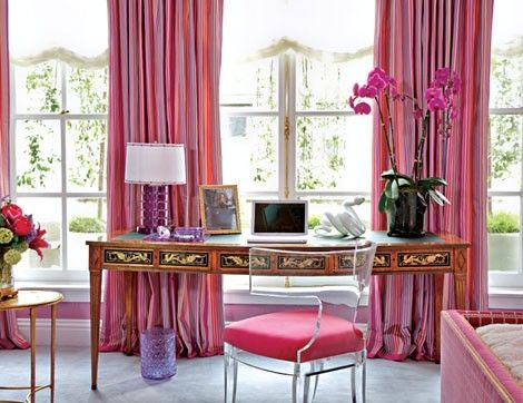 : Curtains, Window, Pink Home Offices, Offices Spaces, Chairs, Color, Pink Offices, Interiors Design, Workspaces