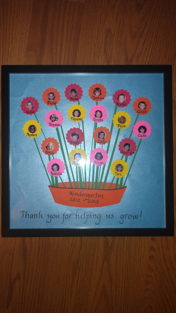 My kindergartener and I made this for an end-of-the-year gift for her teacher. The center of each flower is a photo of a student.