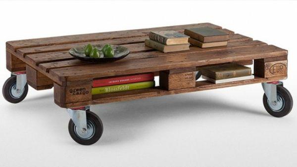 Coole DIY Ideen für Möbel aus Europaletten - möbel aus europaletten tisch auf rollen