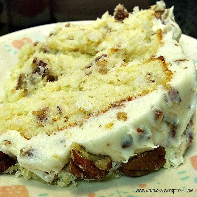 Quick Italian Cream #Cake made with buttermilk, coconut, pecans and rum with Cream Cheese Pecan Frosting