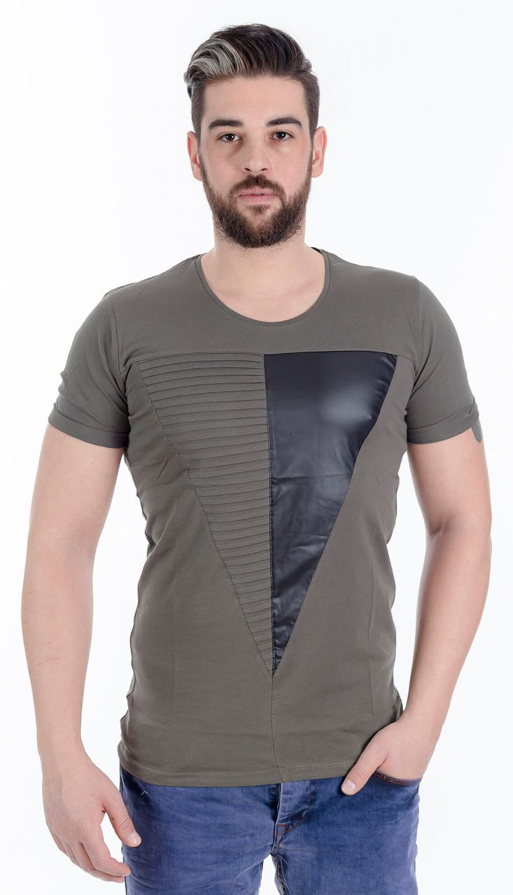 Modagen.com | Erkek Giyim, Erkeklere Özel Alışveriş Sitesi ~ Deri Baskı Detaylı Sezon Erkek Tişört