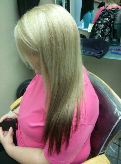 Blonde hair with brown colored tips