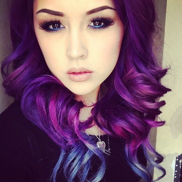Purple ombre hair. I really, really want to do this%u2026for the all of ten minutes it would last, in my hair.