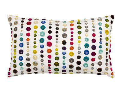 Coussin 100% coton fond écru broderies cercles multicolores 30x50cm EZRA Multicolore