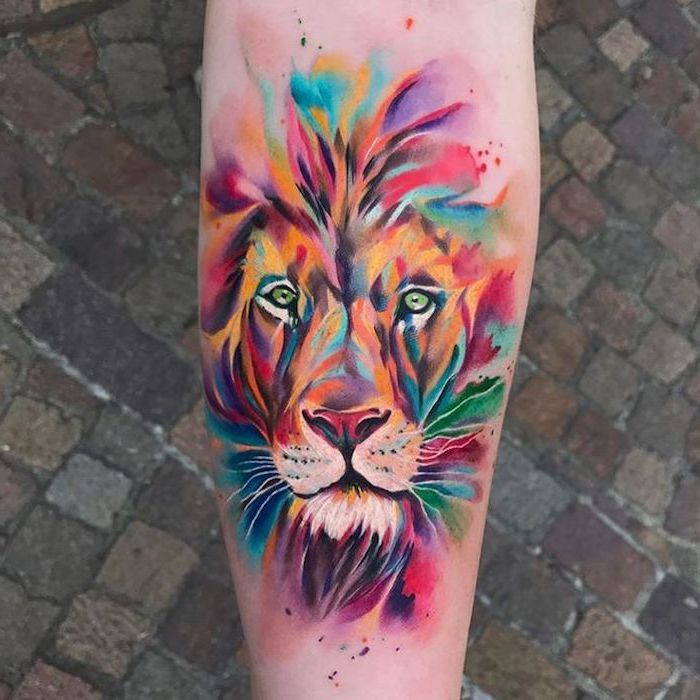 Colorful Watercolors Back Of Leg Tattoo Lion Chest Tattoo Pink Purple Red Green Yellow Orange In 2020 Watercolor Lion Tattoo Watercolor Lion Lion Tattoo