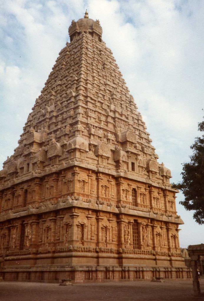 India, Tamil Nadu, Thanjavur | The central gopuram of the Brihadishwara temple is one of the most beautiful structures in India.  the temple was built in 1010 by Chola kings.