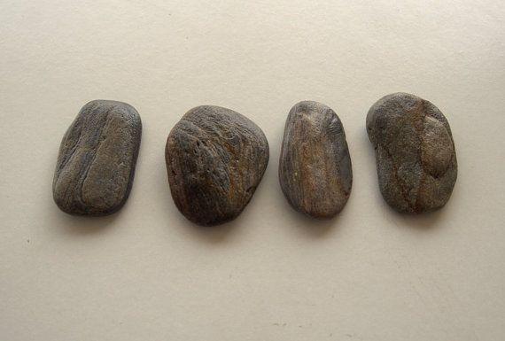 4 Flat Anthracite-Brown Beach StonesWrapped JewelryBeach