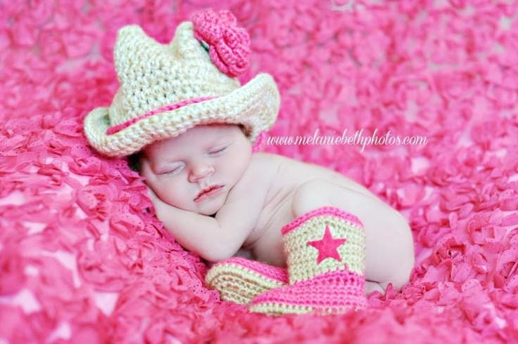 crochet baby cowgirl hat and boots set