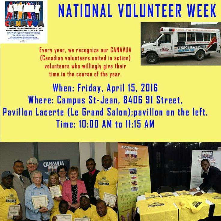 April 10 to April 16, 2016 is National Volunteer Week, a time to celebrate and thank Canada's 12.7 million volunteers. In Edmonton, we shall share some fantastic volunteer driven projects such as CANAVUA, May Day event, Taste of Edmonton, Heritage Festival and many more. Stay tune...