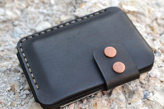 Monedero billetera los hombres cuero tarjeta soporte cuero