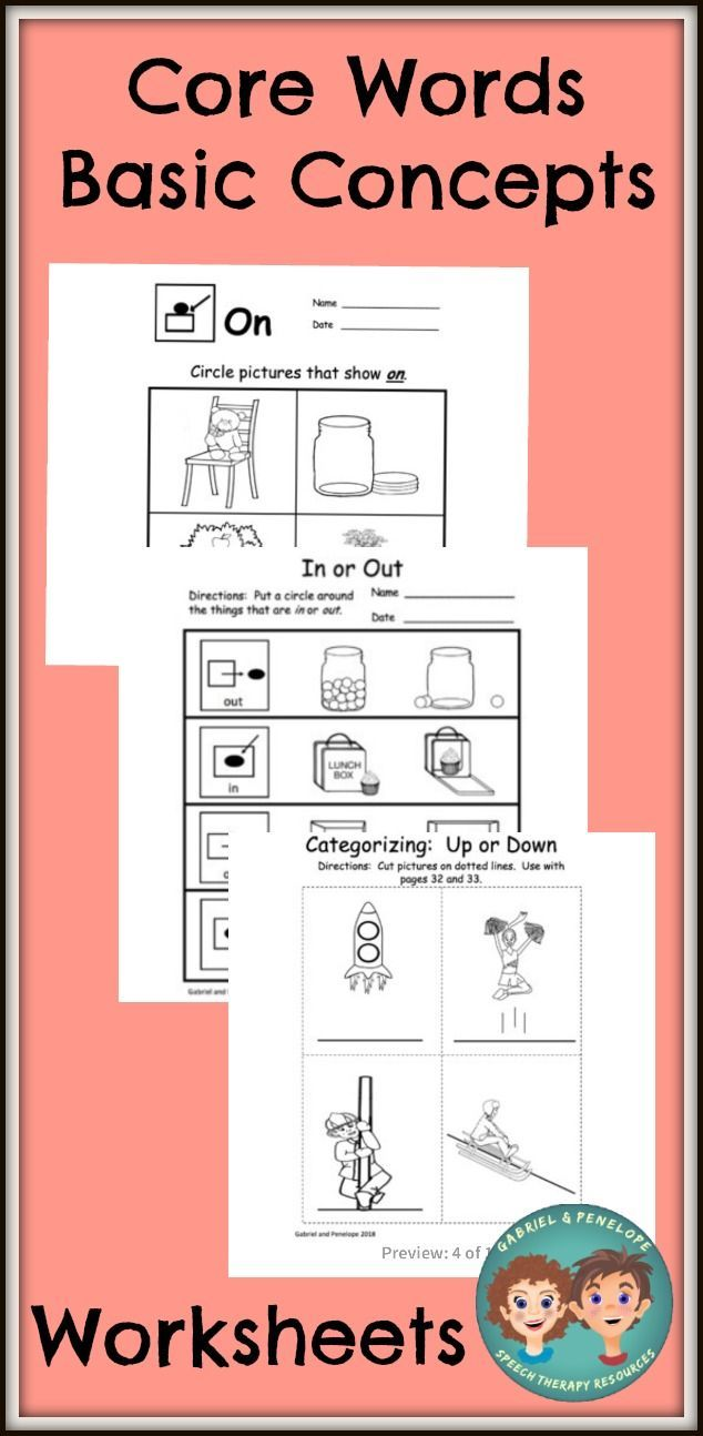 This Printable Core Word Basic Concepts Worksheet Activity Set Provides Core Word Instruction And Practice With Core Words Speech Therapy Autism Basic Concepts [ 1294 x 634 Pixel ]