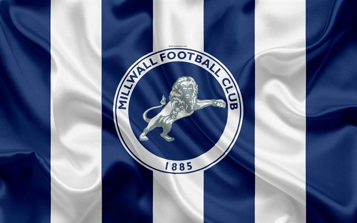 Download wallpapers Millwall FC, logo, silk flag, emblem, 4k, Millwall, London, UK, English football club, Football League Championship, Second League, football