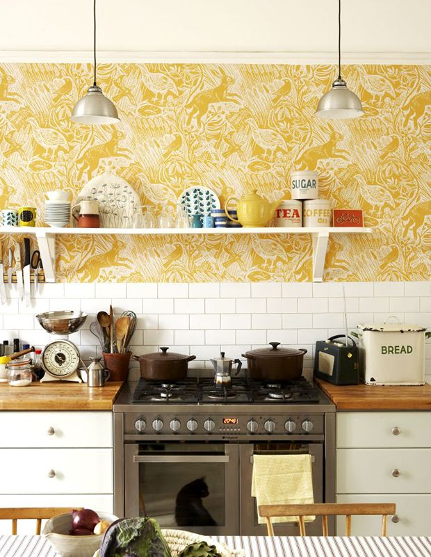 best 25 yellow kitchen wallpaper ideas on pinterest floral print background print patterns and grey pattern - Wallpaper Kitchen Ideas