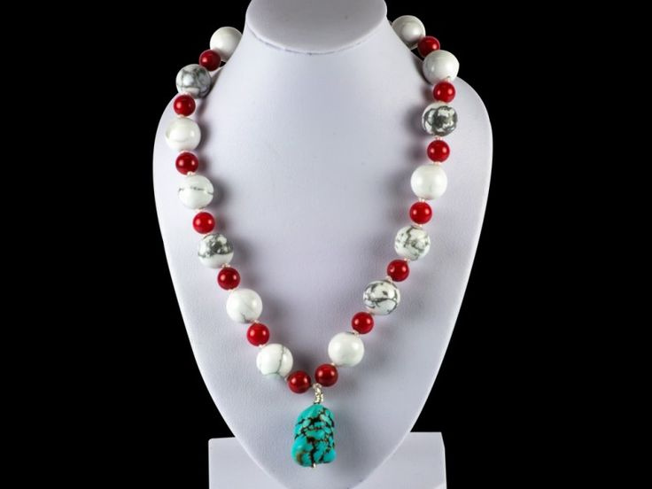 Natural Sweet Red Coral With White Howlite & Blue Turquoise Gemstone Necklace | The Beaded Garden