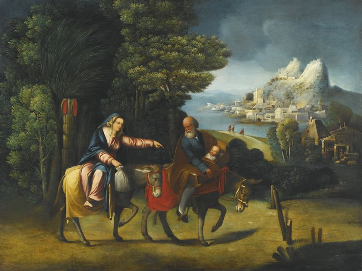Battista Dossi FERRARA (?) 1490/5 - 1548 FERRARA THE FLIGHT INTO EGYPT oil on poplar panel 66.1 by 87.3 cm.; 26 by 34 3/8  in.: