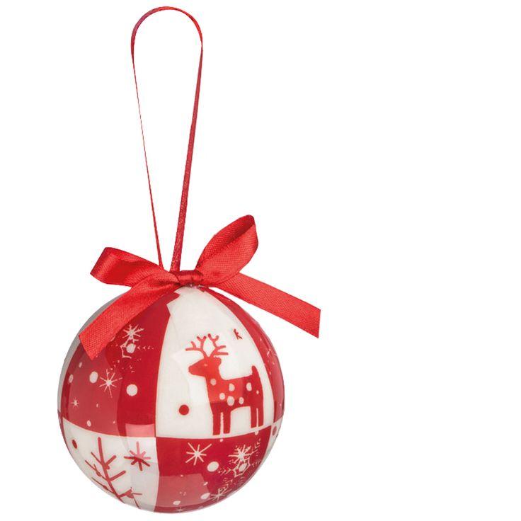 Christbaumkugeln, Baumschmuck (Kunststoff) in weihnachtlicher Verpackung