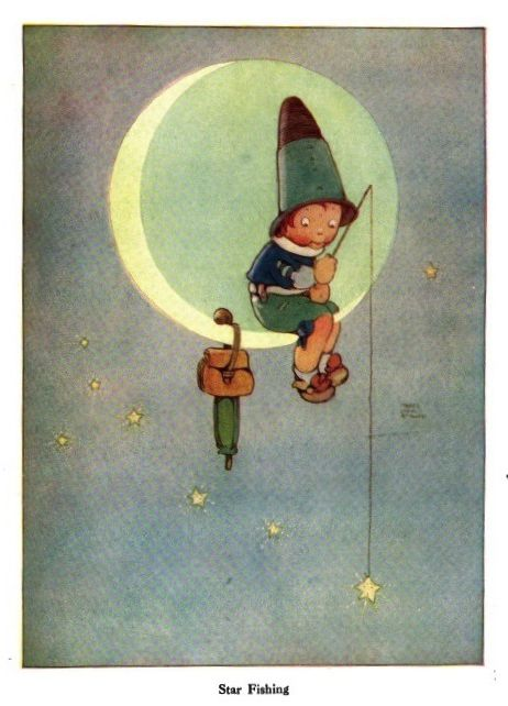 """""""Star Fishing"""".Mabel Lucie Attwell from """"Little Folks - The Magazine for Boys and Girls"""" - London: Cassell and Co., Ltd., Volume 74, 1911."""