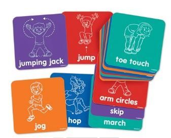 Brain breaks with activity mats! Different actions written on the mats will make the kids jump, hop, squat, stretch, jog, march.....and more. This is a sure way to get the kids moving and get the sillies out in no time!