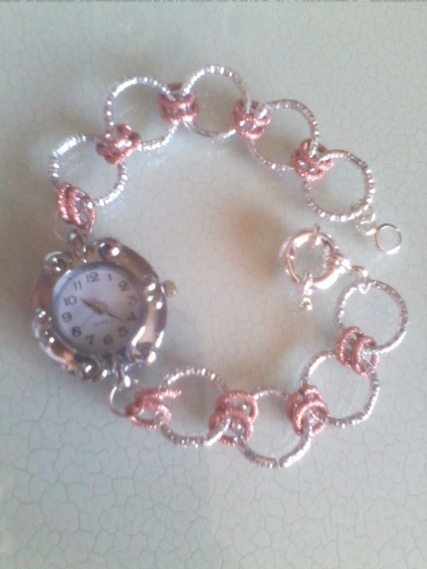 Orologio-bracciale in catena di alluminio diamantata rosa- argento