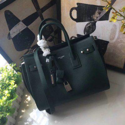 2017 New Saint Laurent Small Sac De Jour Souple Bag in dark green grained  leather 681175930fdbf