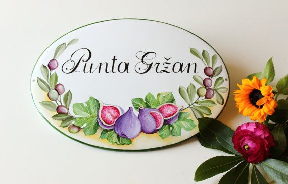 Hand painted porcelain family name Sign, Custom outdoor sign, House number, Address plaque for house, Personalized housewarming gift