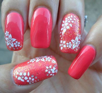 Coral and FloralYou can alternate plain nail paint with some fancy floral design and if you shape your nails square, that would make a whole lotta difference and everybody would be looking at 'em nails