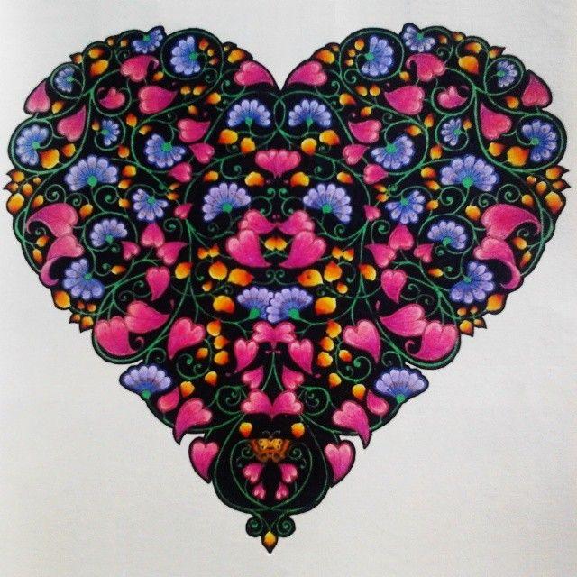 Coração Florido #jardimsecreto #secretgarden #johannabasford #colorindo