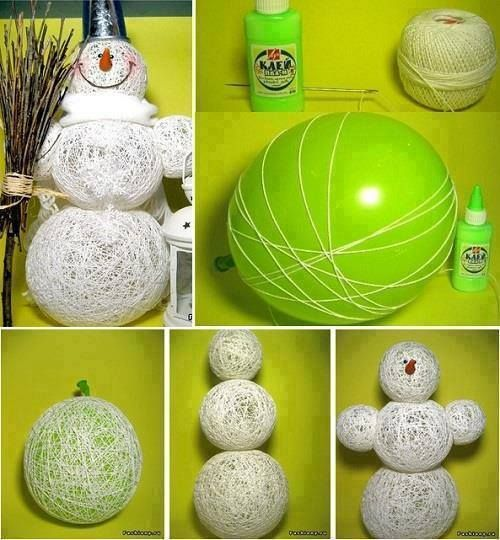 18 best christmas diy ideas and craft images on pinterest string snowman made with balloons by do it yourself craft ideas of the week 40 pics solutioingenieria Gallery