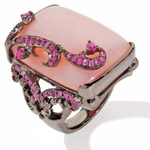 Carlo Viani Rosa Bella Opal and Pink Sapphire Sterling Silver Cushion Ring at HSN.com