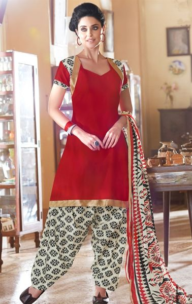 Picture of Pleasing Red Color Patiala Suit