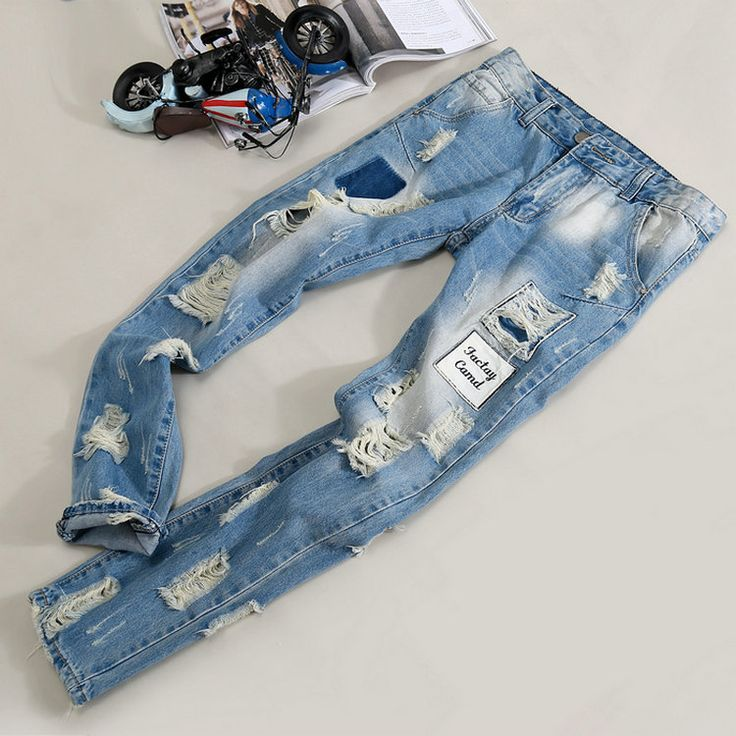 Cheap 2015 nueva moda de verano de pierna ancha casual hombre jeans mendigo alta nostálgico azul de los pantalones vaqueros de marca diseño hombres jeans denim agujero. 2036, Compro Calidad Jeans directamente de los surtidores de China:    2015 brand new men's fashion relaxed casual denim pantyhose, high quality blue jeans beggar pants, men's jeans hole.U