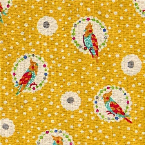echino canvas stoff cockatiel design echino by etsuko furuya import aus japan beiger canvas. Black Bedroom Furniture Sets. Home Design Ideas